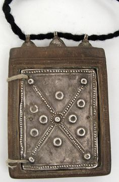 Vintage silver and carved wood Icon. Coptic, Ethiopia