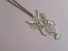 Sweet Vintage Owl Necklace - 1970's Boho Articulated Statement Necklace - Silver