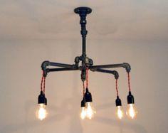 6- Bulb Chandelier: Industrial - Black Malleable Iron