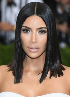 37908d601fd3 Kim Kardashian Medium Straight Cut - Kim Kardashian wore her hair down to  her shoulders in a sleek straight style at the 2017 Met Gala.
