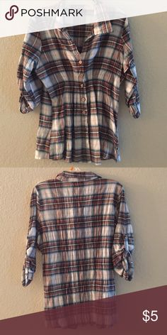 Flannel shirt A brown, blue and white flannel Tops
