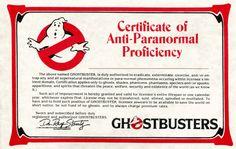 1984 Ghostbusters Certificate Of Anti-Paranormal Proficiency > Ray Stantz > Egon Ghostbusters Birthday Party, Ghostbusters Movie, Indiana Jones, Luke Skywalker, Try To Remember Lyrics, Die Geisterjäger, Strange Things Season 2, Ghost Movies, Stranger Things 2