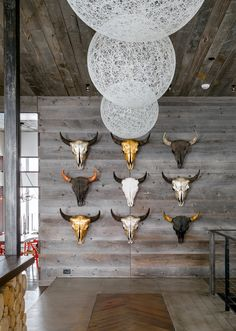 Metallic Skulls. Texan. Decor. Design. Home. Wall. Art. Statement. Detail.