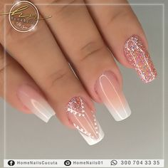 599 Me gusta, 2 come Elegant Nail Designs, Elegant Nails, Stylish Nails, Polygel Nails, Love Nails, Glitter Nails, French Acrylic Nails, Simple Acrylic Nails, Bridal Nail Art