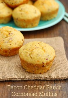 Bacon Cheddar Ranch Cornbread Muffins - Whats Cooking Love? Healthy Muffin Recipes, Easy Delicious Recipes, Healthy Baking, Breakfast Recipes, Yummy Food, Sweet Cornbread Muffins, Preschool Cooking, Cupcakes, Corn Bread