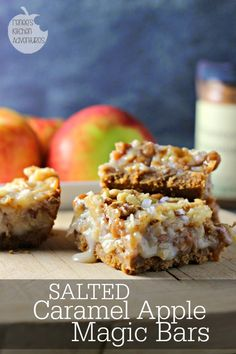 Salted Caramel Apple Magic Cookie Bars: Ooey Gooey Fall flavors goodness in an easy to make cookie bar recipe!