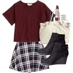 A fashion look from August 2014 featuring short sleeve shirts, skater skirts and wedge heel booties. Browse and shop related looks. Basic Outfits, Date Outfits, Skirt Outfits, Fashion Outfits, Lydia Martin Style, Lydia Martin Outfits, Oufits Casual, Cute Casual Outfits, Pretty Outfits
