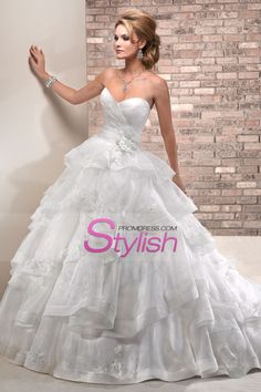 2013 Wedding Dresses Ball Gown Sweetheart Court Train Organza
