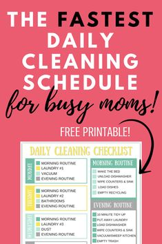 A simple easy daily cleaning routine and schedule that's perfect for busy people, working moms and anyone lazy about cleaning that the whole family can help with and can be easily included as a simple checklist in your bullet journal Daily Cleaning Checklist, Cleaning Schedule Templates, Weekly Cleaning, Cleaning Hacks, Cleaning Schedules, Cleaning Solutions, Schedule Printable, Free Printable, Beauty Routine Schedule