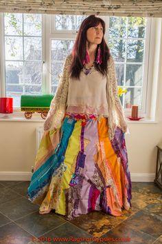 Rainbow Gypsy Skirt Hippie Womens Clothing by RagsForGypsies