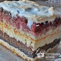 Пляцок орехово-маковый с вишнями Hungarian Cake, Hungarian Recipes, Russian Recipes, Russian Cakes, Russian Desserts, Traditional Cakes, Sweet Cakes, How Sweet Eats, Homemade Cakes