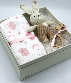 Crochet Rabbit Gift Box, Baby Girl Gift Box, New Born Gift, New Baby Gift Basket, Organic Baby Gifts Baby Gift Box, Baby Box, Baby Girl Gifts, New Baby Gifts, Baby Gifts To Make, Mom Gifts, How To Make An Envelope, Crochet Rabbit, Organic Baby