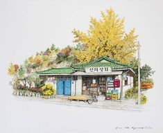 20 years of Convenience by Me Kyeoung Lee Building Painting, Building Art, Korean Art, Asian Art, Watercolor Illustration, Watercolor Paintings, Watercolour, Realistic Sketch, Watercolor Architecture