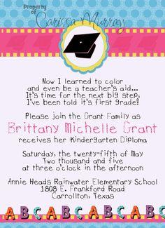 25 5x7 Girls Preschool Kindergarten Graduation by Carissa848, $31.25