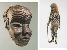 """The Mbunda of Eastern Angola and Western Zambia are known for their expressionist art. This 'Simonda' or 'Simonde' mask is a fine example, with emphasized plastic qualities of harmonious balance - conveyed with a surprising expression on the deeply carved character form. Like 'Sachihongo' the chief or diviner, 'Simonda's' dominant features are forehead wrinkles, open carved eyes and mouth - with protruding cheeks - carved in high relief."""