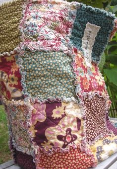 Rag Quilt CUSTOM Throw  Reversible  Any Color Any by roryunraveled, $234.95