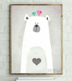 Bear, birds, polar bear, heart