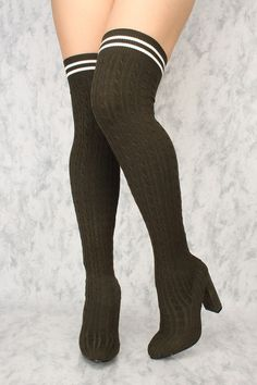 Buy Sexy Olive Chunky High Heels Thigh High Heels Knit with cheap price and high quality Boots stores which offers Boots,women's winter boots,high heel boots,over the knee boots,suede boots shoes,womens sexy boots,thigh high boots,gladiator boots,platform