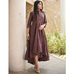 Shop online Orchid high low dress Tint of violet khadi with high low wavy bottom Kurti Neck Designs, Kurti Designs Party Wear, Salwar Designs, Blouse Designs, Stylish Dresses, Casual Dresses, Dress Outfits, Dress Up, Indian Designer Outfits