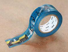 Skansen Houses, Olle Eksell - Japanese Washi Paper Masking Tape, Dark Blue Tape, Happy Wedding Design, Kawaii Collage, Gift, Invitation Idea - JapanLovelyCrafts