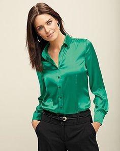 camisete social feminina de cetim verde