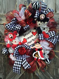 Alice in Wonderland Decor, Queen of Hearts, Everyday Wreath, Disney Wreath, Birthday Party, Beware Heads May Roll on Etsy, $159.00