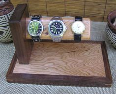 Watch Stand Mens Valet Watch Display by OnondagaHillWoodwork, $70.00