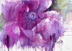 Joanne Boon Thomas Watercolor Cards, Watercolor Flowers, Paint Flowers, Watercolour Art, Purple Poppies, Brusho, Encaustic Art, Art Station, Watercolour Tutorials
