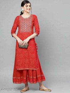 Checkout this latest Kurta Sets Product Name: *Women Rayon A-line Embroidered Long Kurti With Palazzos* Kurta Fabric: Rayon Bottomwear Fabric: Rayon Fabric: Rayon Set Type: Kurta With Bottomwear Bottom Type: Palazzos Pattern: Embroidered Multipack: Single Sizes: M (Bust Size: 38 in, Kurta Length Size: 44 in, Bottom Hip Size: 28 in, Bottom Length Size: 37 in)  L (Bust Size: 40 in, Kurta Length Size: 44 in, Bottom Hip Size: 30 in, Bottom Length Size: 37 in)  XL (Bust Size: 42 in, Kurta Length Size: 44 in, Bottom Hip Size: 32 in, Bottom Length Size: 37 in)  XXL (Bust Size: 44 in, Kurta Length Size: 44 in, Bottom Hip Size: 34 in, Bottom Length Size: 37 in)  Easy Returns Available In Case Of Any Issue   Catalog Rating: ★4 (297)  Catalog Name: Women Rayon A-line Embroidered Long Kurti With Palazzos CatalogID_1845040 C74-SC1003 Code: 266-10199135-5091