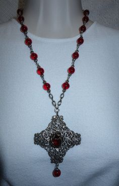 VTG ANTIQUE ART NOUVEAU SILVER PLATED RED GLASS LAVALIER NECKLACE #Unbranded #Chain