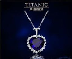 Titanic Heart of the Ocean Sapphire Crystal Chain Necklace Pendant