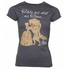 Women's Charcoal Marl Disney Beauty And The Beast Tale As Old As Time... ($26) ❤ liked on Polyvore featuring tops, t-shirts, disney, pattern t shirt, charcoal grey t shirt, mixed print top and disney tees