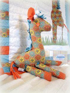 Baby Quilt - Gallant the Giraffe Nursery Bedding Collection, Handmade, Repurposed, pillowcase, Eco-friendly. $190.00, via Etsy.