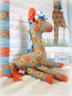 Baby Quilt - Gallant the Giraffe Nursery Bedding Collection, Handmade, Repurposed, pillowcase, Eco-friendly. $190.00, via Etsy.