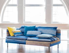 Shades of blue   UK Winner Roseanne Jack's Urquhart design is named after the sheep farm where she grew up   IKEA Söderhamn sofa with a Bemz slipcover