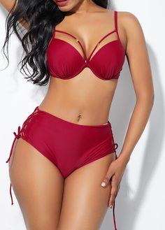 Wine Red Lace Up Side Spaghetti Strap Bikini Set Red Lace, Lace Up, Bikini Set, Strap Bikini, Swimsuit Edition, Bikini For Women, Bra Styles, Swimwear Fashion, Boho Outfits