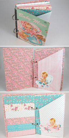 Baby Mine baby girl vintage style scrapbook mini by KBandFriends
