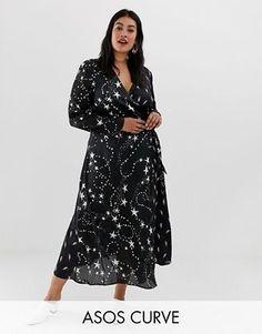 d11d160824f6 ASOS DESIGN Curve wrap maxi dress in star and lightning bolt Asos Για  Καμπύλες