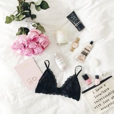 pink roses & lace bralette