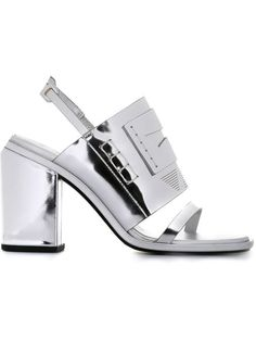 'Santa Fe' sandals Open Toe High Heels, Open Toe Sandals, Chunky High Heels, Strappy Sandals, Leather Sandals, Metallic Sandals, Silver Metallic Shoes, Metallic Leather, Slingback Sandal