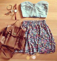 summer outfit - denim bustier + floral skirt + tan accessories