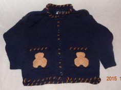 Boy's Blue Teddy Bear Sweater 24 Months Authentic Kids Cardigan #AuthenticKids #Cardigan #DressyEverydayHoliday