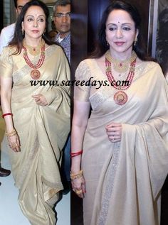 Latest Saree Designs: hema malini in gold colour shimmer saree Short Sleeve Blouse, Short Sleeves, Gold Colour, Color, Hema Malini, Latest Sarees, Future Goals, Saree Styles, Indian Sarees