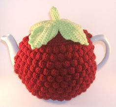 Handmade Crochet Red Raspberry Tea Cosy  *made to drink raspberry tea from... lol <3