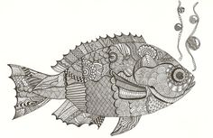 Doodle fish in Blackwork embroidery Fish Zentangle, Tangle Doodle, Zentangles, Doodle Drawings, Doodle Art, Yellow Aesthetic Pastel, Fisher, Blackwork Embroidery, Gold Work