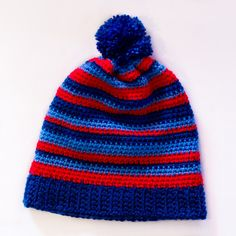 """Where's Wally?"" Stripy Beanie Crochet Pattern via Hopeful Honey"