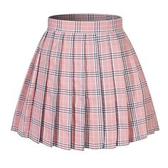 Girl's School Uniform Plaid Pleated Costumes Skirts (M, Pink Mixed White) sexy school costume Pink Plaid Skirt, White Pleated Skirt, Pleated Skirts, Pleated Skirt Outfit Short, Plaid Skirt Outfits, Pink Skirts, Kpop Fashion Outfits, Cute Fashion, Fashion Dresses