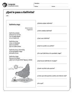¿Qué le pasa a Gallinita? EJERCICIOS DE COMPRENSIÓN DE LECTURA