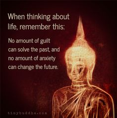 When thinking about life, remember this: No amount of guilt can solve the past…