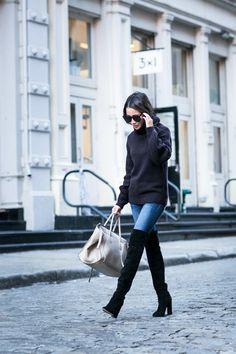 Top :: Iris & Ink via the Outnet Bottom :: Express Boots :: Dior  Bag :: Celine Accessories :: Karen Walker sunglasses, Tiffany & Co rings.